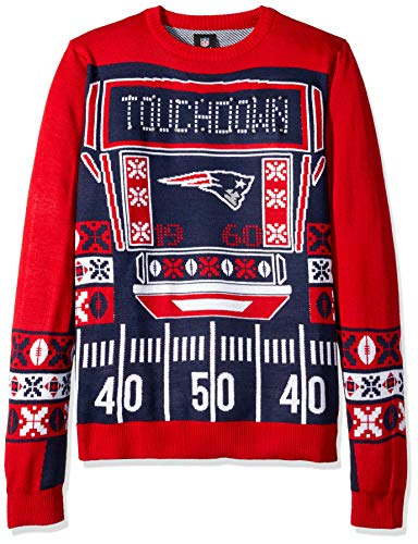 FOCO NFL New England Patriots Mens Ugly Light Up Crew Neck Sweaterugly Light Up Crew Neck Sweater, Team Color, X-Large
