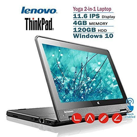 Lenovo Thinkpad Yoga 2-in-1 Convertible 11.6-inch IPS Touchscreen Laptop(Tablet) with Intel Quad Core Processor, 4GB RAM, 120GB SSD, WIN10