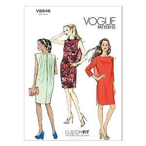Vogue Patterns V8846 - Patrones de costura para vestidos de mujer (tallas 42 a 50)