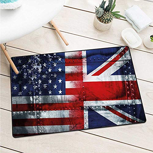Custom&blanket Union Jack Front Door Mat Carpet Alliance Togetherness Theme Composition of UK and USA Flags Vintage Machine Washable Door Mat (W23.6 X L35.4 inch,Navy Blue Red White)]()
