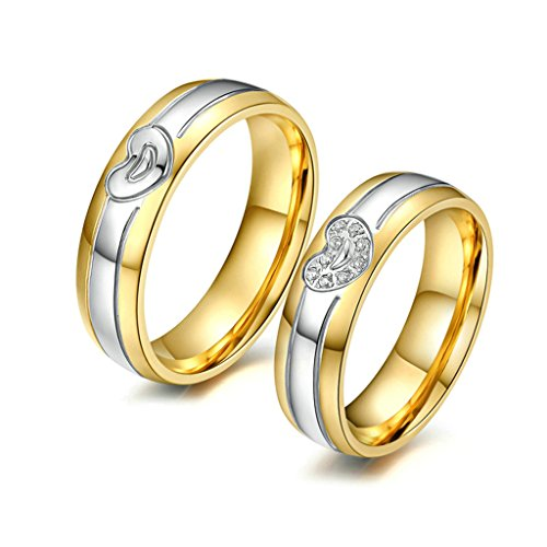 MoAndy 18K Gold Plated Couple Silver Gold 2-Tone Heart Love Matching Set Wedding Rings Size ()