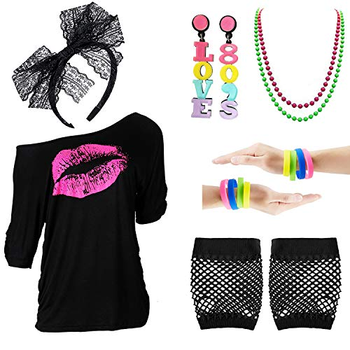 80s Outfits Accessories for Women - Pink Lips Print Off Shoulder T-Shirt,Lace Headband Necklace Bracelet Gloves for 80s ()