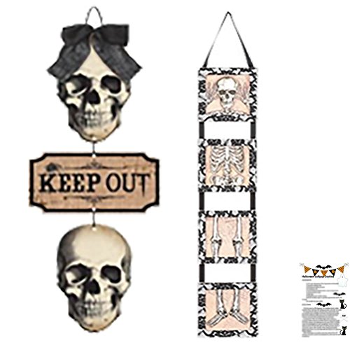 Skull Decorations Sign Set Halloween Skull Decorations Party Supplies for House Décor Sugar Skulls Burlap Skeleton Lace Wood Hanging Skull Signs Set Kit & Recipe