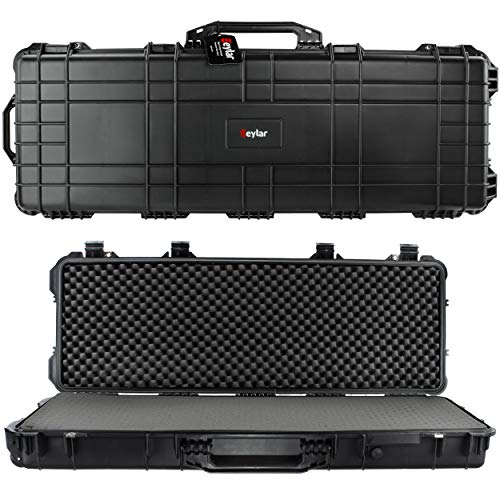 Eylar 44 Inch Protective Roller Tactical Rifle Hard Case with Foam, Mil-Spec Waterproof & Crushproof, Two Rifles Or Multiple Guns, Pressure Valve with TSA Approved Lockable Fittings Black