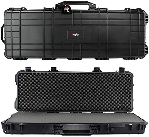 """Eylar 53"""" Inch Protective Roller Tactical Rifle Hard Case with Foam, Mil-Spec Waterproof & Crushproof, Two Rifles Or Multiple Guns, Pressure Valve with Lockable Fittings Black"""