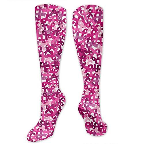 U3GZ1YQAD Pink Ribbon Pattern Men's Women's Compression Socks Knee High Crew Graduated Socks - Best for Travel, Golf, Gym, Football