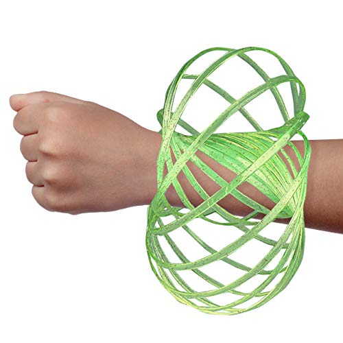 Digital Energy DE Kinetic Arm Toy - Magic 3D Shaped Flow Ring for Kids & Adults, Green(Glitter)