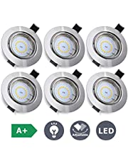 KINGSO 6X LED GU10 Recessed Ceiling Lights 5W,85-230V, 400Lm Square Spotlights Downlights 3000K Warm White for Bathroom Living Room Bedroom Kitchen, IP23(LED Bulb Included) [Energy Class A++]