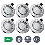 KINGSO 6X LED GU10 Spotlights Downlights Square Recessed Ceiling Lights Angle Orientable Warm White for Bathroom Living Room Bedroom Kitchen Water Proof IP23(LED Bulb Included) [Energy Class A++]