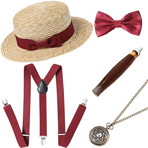 BABEYOND 1920s Mens Gatsby Costume Accessories Set Includes Brim Boater Hat Elastic Y-Back Suspender Pre Tied Bow Tie Pocket Watch and Plastic Cigar (Set-4)]()