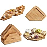 meat and cheese plate - VonShef Jigsaw Platter Cheese Board with Display Stand, Natural Bamboo Wooden Charcuterie and Meat Serving Boards, 4 Connecting Coaster Plates Included, H6 X W6 X D0.5 Inches