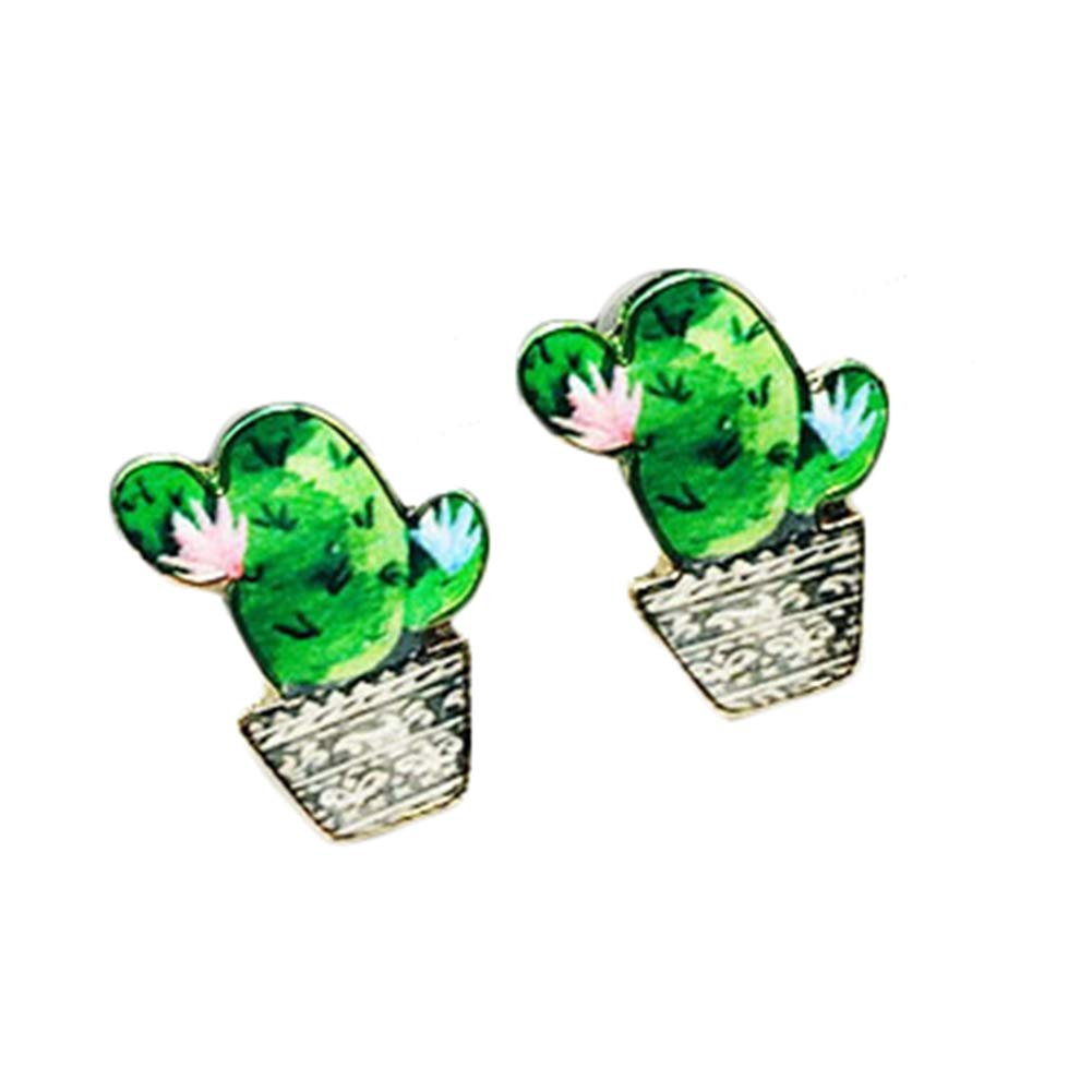 Aoruisier 1 Pair Cactus Stud Earrings Alloy Fashion Jewelry for Girls 1.1Cmx1.1Cm