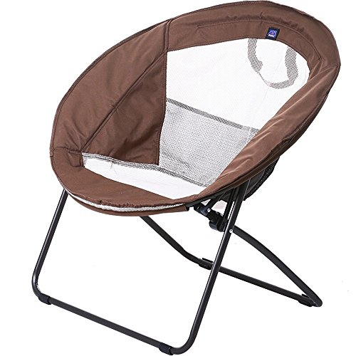 Brown folding chair / moon chair / lunch break lazy chair / folding chair / chaise longue / fabric sofa chair / round chair / recreational chair /Round lazy couch / by Folding Chair