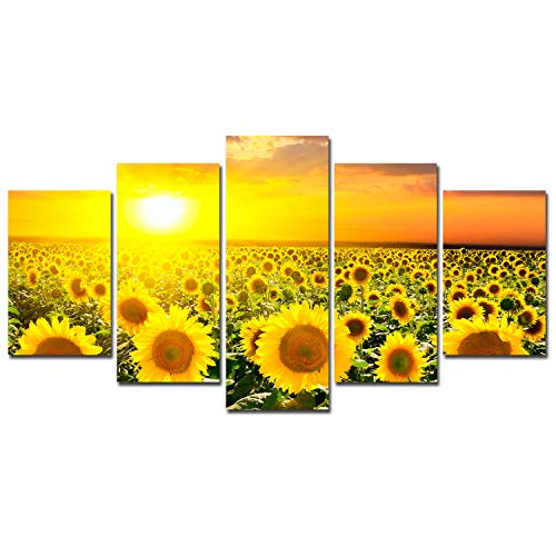 Sunflower Decoration Canvas Wall Art - Sunset Flowers Landscape Poster Home Decor for Living Room Framed Canvas Painting 5 Panels Modern Pictures Floral Art Print Set Rustic Family Kitchen Artwork (Sunflower 5 Panel)
