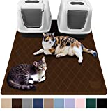 Gorilla Grip Original Premium Durable Multiple Cat Litter Mat, 47x35, XL Jumbo, No Phthalate, Water Resistant, Traps Litter from Box and Cats, Scatter Control, Mats Soft on Kitty Paws, Brown