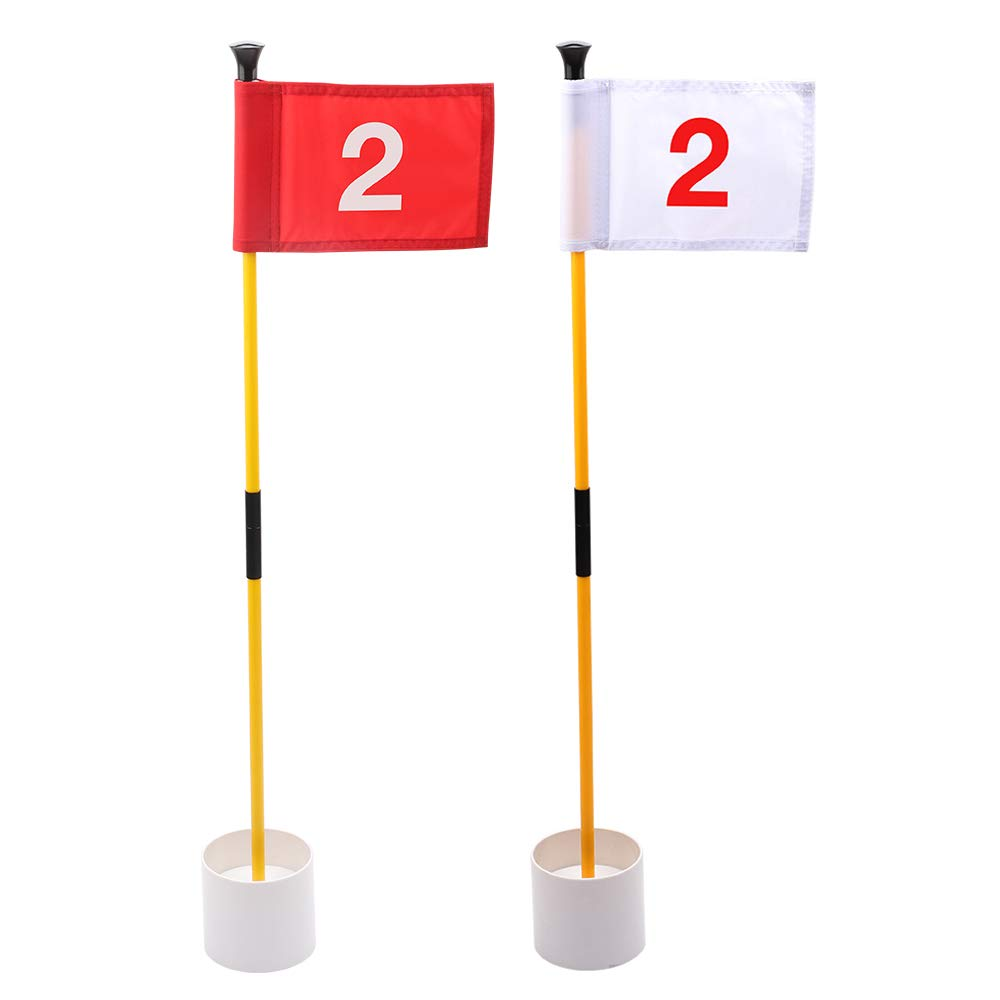 KINGTOP Practice Putting Green Flagstick, Portable Golf Pin Flags, 2-Section Design, Indoor/Outdoor, 2 Sets, Solid Red Flag and Solid White Flag, Both Numbered #2