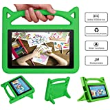 DJ&RPPQ All New F.i r e 7 Tablet Leather Case (7th/5th Generation,2017/2015 Released), [Corner Protection] Anti Slip Shockproof Light Weight Kids Friendly Protective Case (Green)
