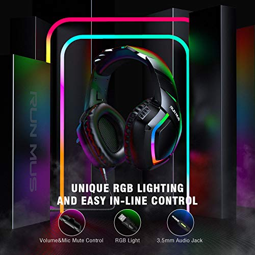 RUNMUS Gaming Headset PS4 Headset with 7.1 Surround Sound, Xbox One Headset with Noise Canceling Mic & RGB Light, Compatible w/ PS4, Xbox One(Adapter Not Included), PC Laptop Sony PSP Game Boy Advance