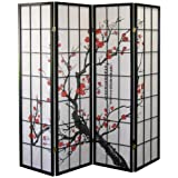 Roundhill Furniture Black Japanese 4-Panel Screen Room Divider, Plum Blossom