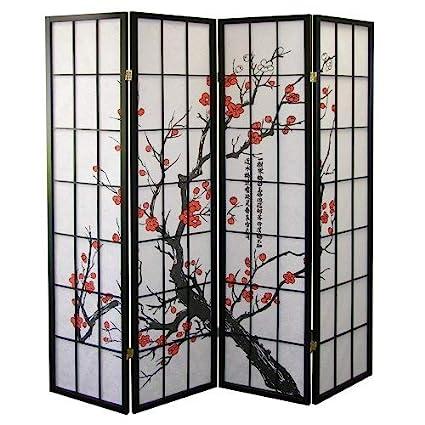 Swell Roundhill Furniture Black Japanese 4 Panel Screen Room Divider Plum Blossom Interior Design Ideas Tzicisoteloinfo