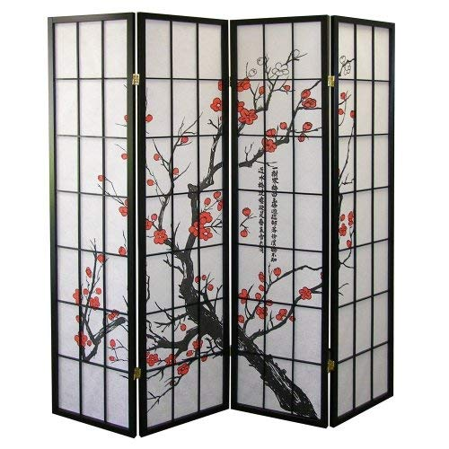 Roundhill Furniture Black Japanese 4-Panel Screen Room Divider, Plum Blossom -