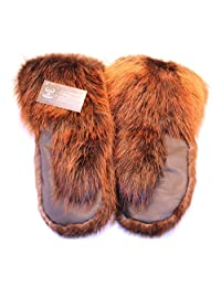 Men's long mittens for winter, real beaver fur, leather (L)