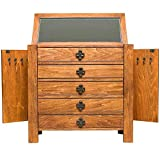 Large Jewelry Chest Vintage Oak 2 Side Necklace Storage Doors Rustic Pine Finish Mirror Jewelry Box 5 Drawers Organizer Cabinet Wooden Antique Jewel Case Cosmetic Organizer & eBook by BADA Shop