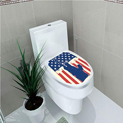 Toilet Sticker,4th of July Decor,Independence Day Design with Star Button and Sunburst Stripes Artsy Image,Red Blue,Diversified,W11.8