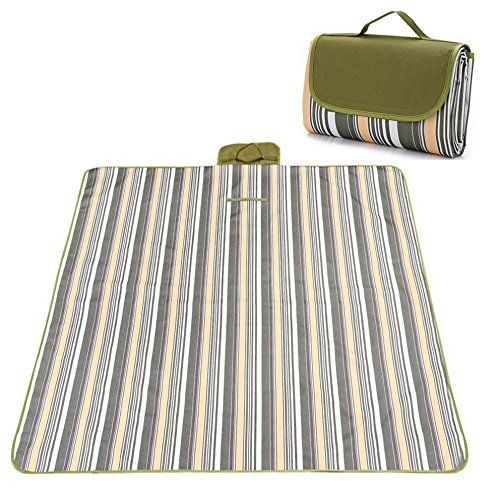 Picnic & Outdoor Extra Large Blanket For Outdoor Water-Resistant Handy Mat Tote Spring Summer Striped for the Beach,Camping on Grass Waterproof Sandproof (78 x 57, Green Plaid)