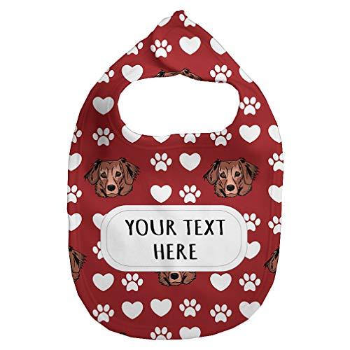 Dachshund Red Fleece - Fleece Bib Custom Dachshund Red Paw Heart Pattern Unisex Children, One Size