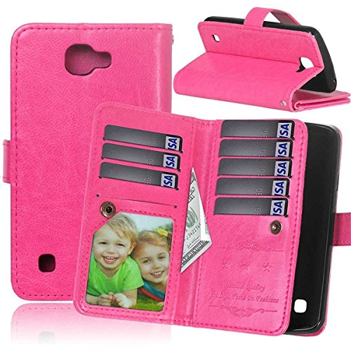 (LG Realm Case LG LS620 Realm Flip Wallet Case,Bat King [Multi Card Wallet] Premium Magnetic PU Leather Wallet with Built-in 9 Card Slots Folio Flip Case for LG LS620 Realm(Hot Pink))