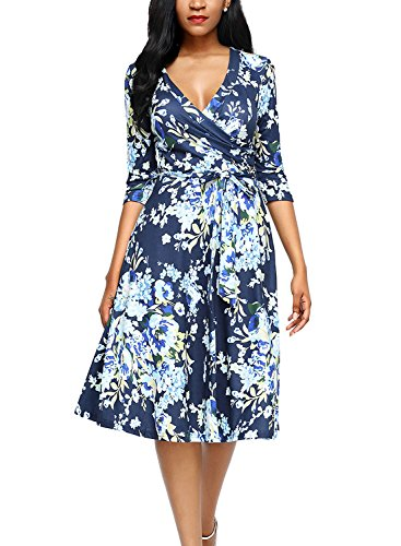 AlvaQ Women Wrap V Neck Knee Length Floral Dress