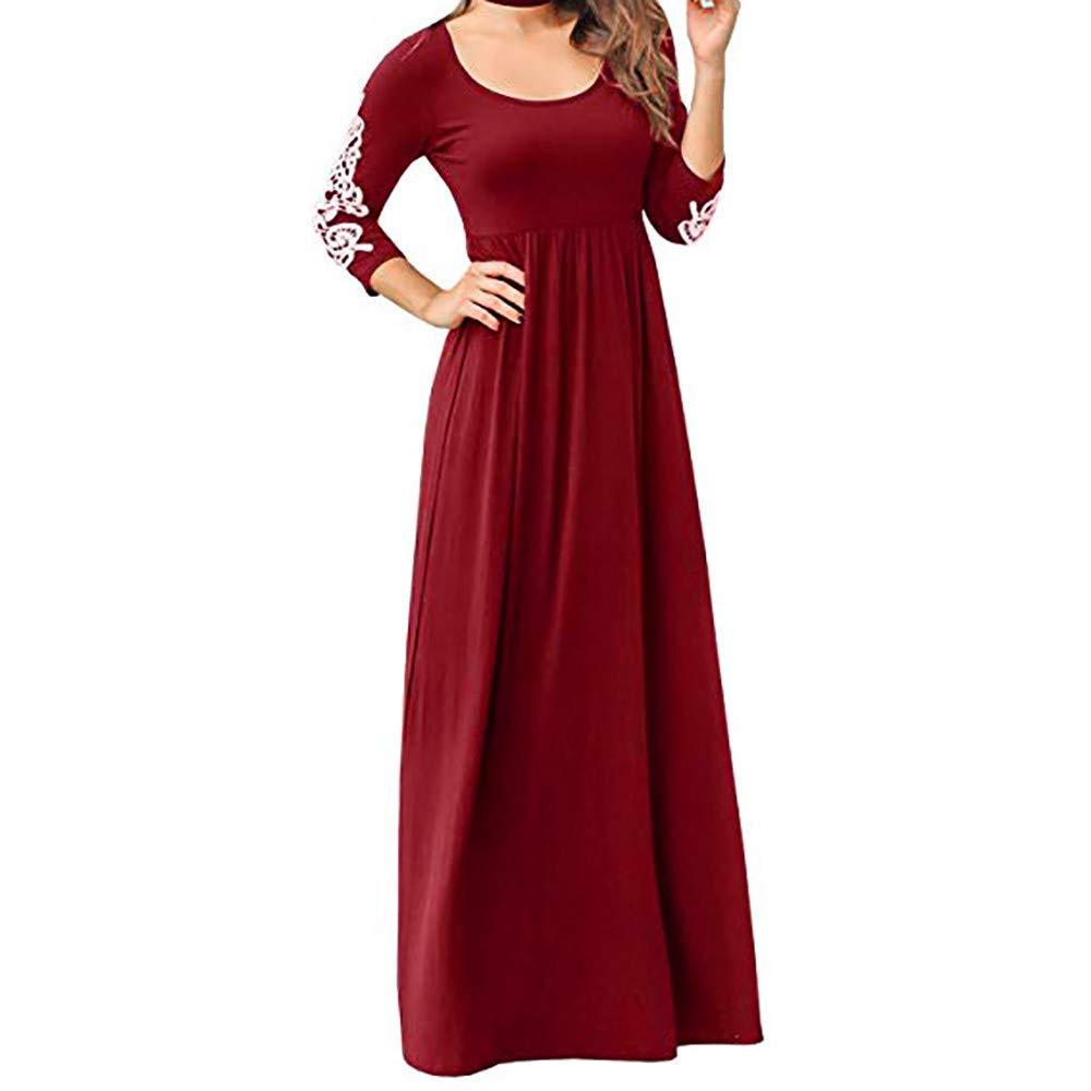 Women Graceful Maxi Dress,Women Solid Applique Three Quarter Sleeve Patchwork High Waist Boho Long Maxi Dresses(S,Red)