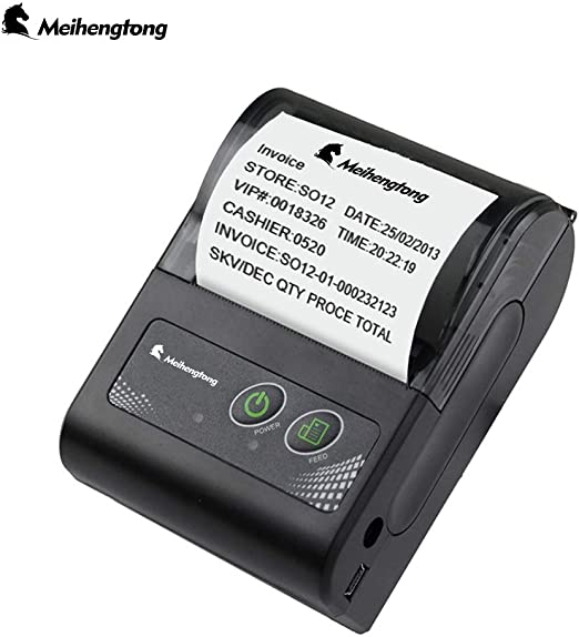 Mobile Thermal Receipt Printer, Meihengtong Handheld 2 Inches 58mm Mini Portable Bluetooth 4.0 Receipt Printer Wireless with Rechargeable Battery, ...