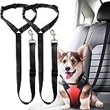 Musonic 2 Packs Dog Cat Safety Seat Belt Strap Car Headrest Restraint Adjustable Nylon Fabric Dog Restraints Vehicle Seatbelts Harness