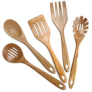 Wooden Cooking Utensils for Kitchen,Natural Teak Wood Utensil Set Nonstick Wooden Spatula and Wooden Spoons