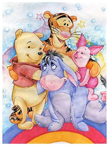 (5D Diamond Painting Pooh Piglet Eeyore Tigger Full Square/Round Rhinestone Diamond Embroidery Mosaic Cross Stitch Kits Home Decoration Gifts 35cm X 45cm)