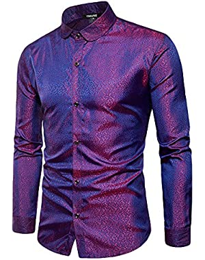 Mens Slim Fit Regular Long Sleeve Shiny Satin Silk Like Dance Prom Dress Shirt Tops