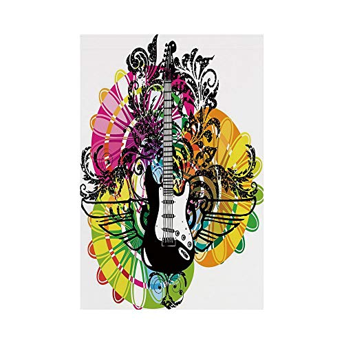 Polyester Garden Flag Outdoor Flag House Flag Banner,Popstar Party,Abstract Floral Composition with Vibrant Colors Circles and Electric Guitar Decorative,Multicolor,for Wedding Anniversary Home Outdoo