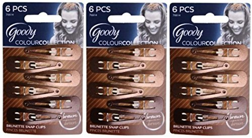 Goody Colour Collection Contour Clips, Color: Brunette - 3 Packs of 6 Count = 18 Count