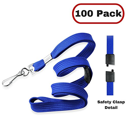 MIFFLIN Flat Breakaway Safety Lanyard for ID Badges, Soft Woven Neck Line (Royal Blue, 36 inch, 100 ()