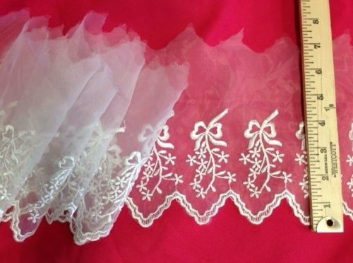 """Lace Trim Scalloped Embroidered Sheer Organza, 4-6"""" Wide, 3 Yards, Choose Color, Multi-Use Garments Gowns Veils Bridal Communion Christening Costumes, White - AMORE FABRICS"""