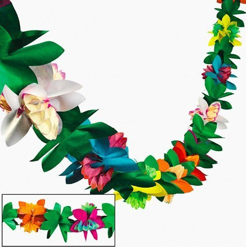 Tissue Flower Garland by Fun Express (1-Pack) - Jungle Blue Paper