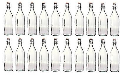 Bormioli Rocco - Lote de Botellas de Cristal con tapón mecánico (20 Unidades, 1