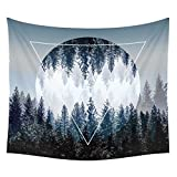 YAMUDA Modern Mandala Tapestry Yoga Mat Wall Hanging Decoration for Apartment Dorm Bedroom Living Room Table Couch Cover Square Beach Towel Medium Size Tapestries 145cmX145cm (Woods)