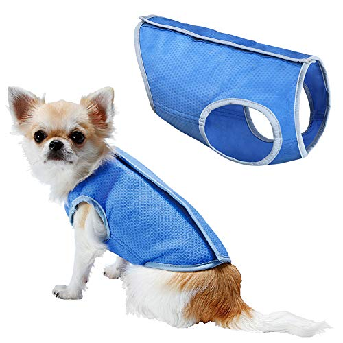 LotFancy Dog Cooling Vest Jacket Coats Swamp Cooler for Puppies Cats Kittens Pets (Blue, Small) (Ruff Wear Swamp Cooler Vest)
