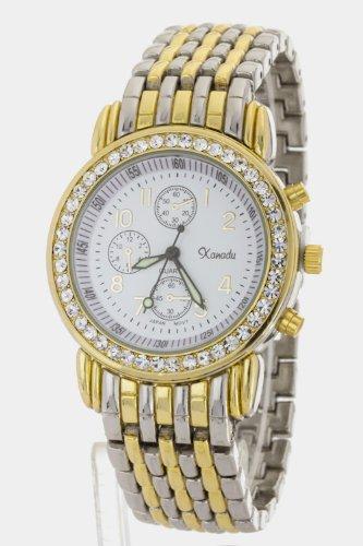 Karmas Canvas Crystal Bezel Fashion Bracelet Watch (2 Tone)