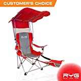 Folding Chair with Canopy Raise Your Game RYG Folding Camping Chair Set, Portable Outdoor Reclining Camp Chairs, Heavy Duty Lightweight Lounge Beach Chair with Adjustable Shade Canopy (Red)