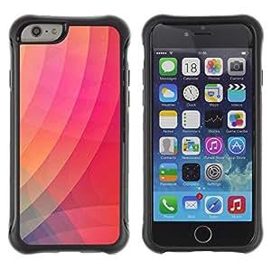 Híbridos estuche rígido plástico de protección con soporte para el Apple iPhone 6 (4.7) - gradient color pink stripes art modern
