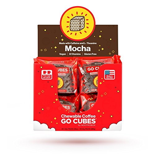 GO CUBES Energy Chews, Mocha Coffee Flavored, 4 count chews (20 Pack) by HVMN
